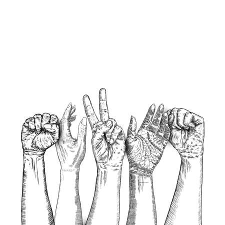 United hands together in ink style. Business group collaboration. Team concept. Coordination, international multiracial, mixed race people hand holding each other in unity. For hands vector.
