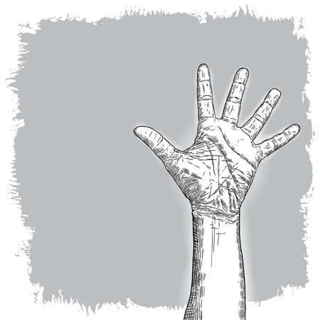 Hand gesture sketch. Man wrist illustration on grunge background. Hand drawn engraving style of male raise high up fist. Vector. Banque d'images - 116843847