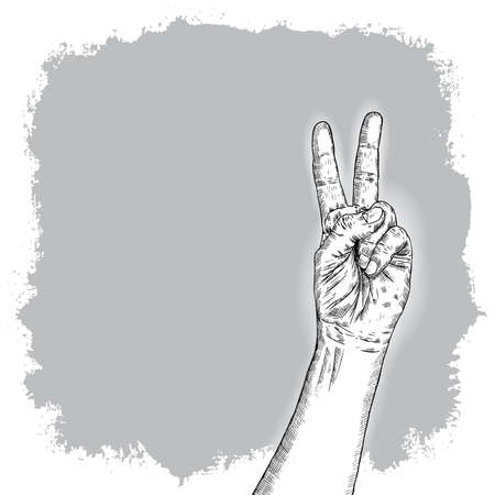 Man hand gesture. Pointing up V or Victory male fingers. Hand drawn sketch. Boy V sign hand. Vector.