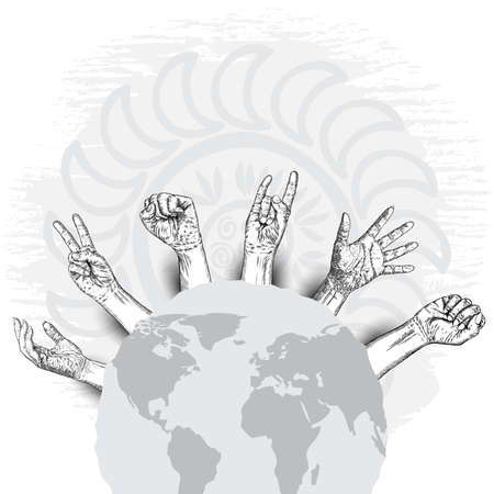 Raised hands with fist on grunge on earth map background. Ink style poster with space for text. Concept of protest, strength, freedom, revolution, rebel, revolt. Vector.