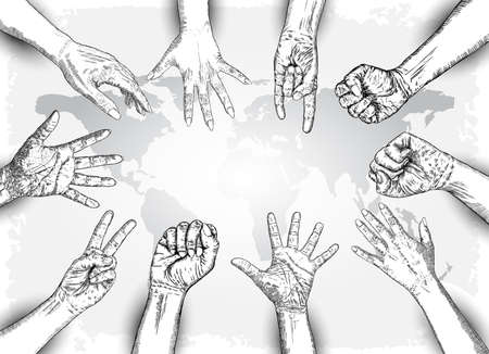 We are strong or Together were strong concept. Raised fists. Ink art. Vector. Çizim