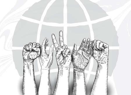 Les poings multiraciaux les mains en l'air. Concept de oui vous pouvez, unité, révolution, combat, coopération. Conception d'encre. Symbole créatif du travail d'équipe avec un espace pour votre texte. Vecteur.