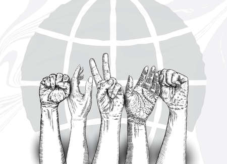 Multiracial fists hands up. Concept of yes you can, unity, revolution, fight, cooperation. Ink design. Creative symbol of teamwork with space for your text. Vector.