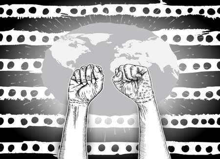 We are strong or Together we're strong concept. Raised fists. Ink art. Vector.