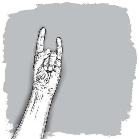 Bosquejo del gesto de la mano. Ilustración de muñeca de hombre sobre fondo grunge. Estilo de grabado dibujado a mano de hombre levanta el puño en alto. Vector.