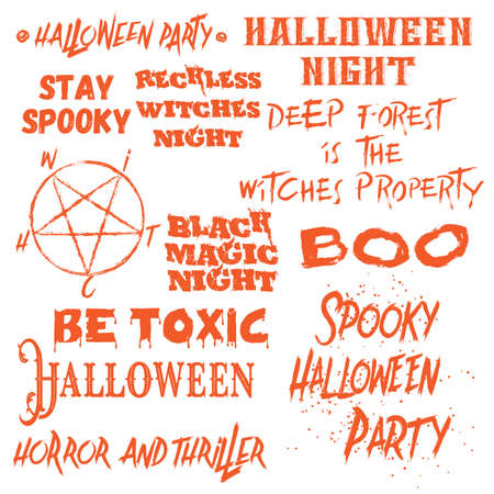 Set of Halloween quotes for posters about Halloween party and Scary phrases for greeting card printable wall art designs and flyers, different font calligraphy collection. Vector. Иллюстрация