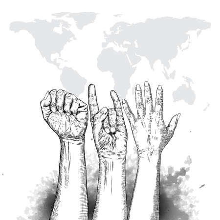 Three fists raised in protest on earth map background. Ink style poster. Protest, strength, freedom, revolution, rebel, revolt concept. Vector. Иллюстрация