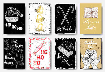 Christmas hand drawn cards with calligraphy ho ho ho, Joy Peace Love, Here Comes Santa, Best Wishes for the Holiday Season, Santa Stop Here, Christmas Time. Vector.