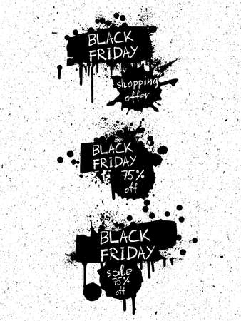 Set of Sale discounts for holidays season banner. Black Friday, black and white shopping bags banners or print made of paint and ink splashes and  stains on the textured noisy background. Vector.
