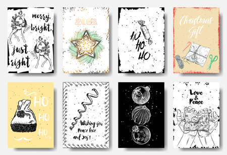 Set of 8 Merry Christmas and Happy New Year hand drawn greeting cards. Merry Bright just Right, 2018, ho ho ho, Christmas Gift, wishing you peace love and joy, Love and Peace. Vector. Illustration