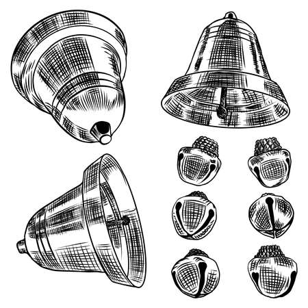 Set of Jingle bells hand drawn Christmas and New Year design element for seasonal posters and greeting cards. Vector.