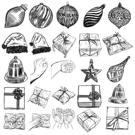 Christmas icons set with decorations, deer, Santa Claus hat, mitten, jingle bell, plants, scissors, wrap boxes with bows, glove, candy. Holiday hand drawn sketch collection DIY designs. Vector.