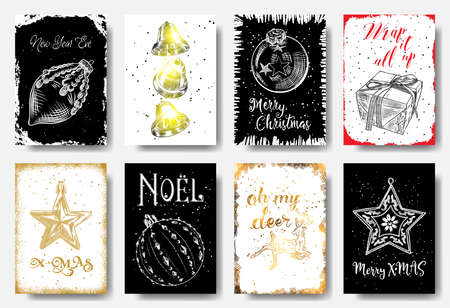 Modern and classic creative Christmas cards in black, gold and white illustration. Ney Year Eve, Jingle Bells, Wrap it all up, X-MAS, Noel, Oh my deer, Merry X MAS. Vector. Illustration