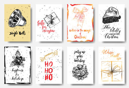 Christmas hand drawn cards with calligraphy Jingle Bells, Gift for everyone, Believe in the magic, totally awesome Christmas, Happiness for Holidays, Ho Ho Ho, jolly up your holiday. Vector.