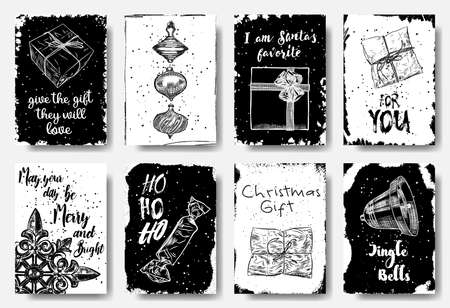 Set of 8 creative holiday cards. Christmas posters. Templates for greeting, congratulations, invitations, magazine. Gifts they will love,  I am Santas Favorite, Merry and Bright, HO HO HO, Vector.