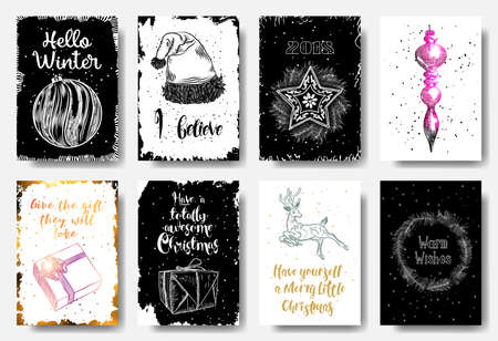 Set of 8 hand drawn cards. Christmas Posters set. Hello Winter, I believe, 2018, give the gift they will love, totally awesome Christmas, Merry little Christmas, Warm Wishes. Vector.