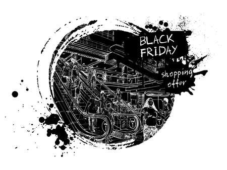 Black Friday sale banner with discounts for web or advertisement. Crowd of people shoppers hurry to buy drawing. Vector.
