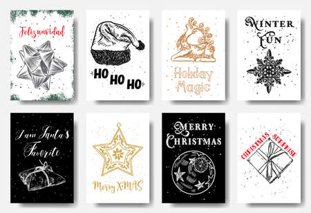 Modern and classic creative Christmas cards in black, gold and white illustration. Feliz Navidad, Ho Ho Ho, Holiday Magic, Winter Fun, I am Santa's favorite, Merry X MAS, Christmas Surprise. Vector.