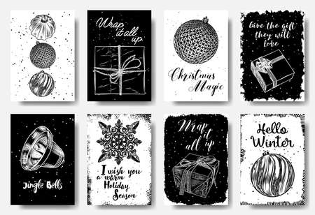 Modern and classic creative Christmas cards in black and white. Wrap it all up, Christmas Magic, Give the gifts they will love, Jingle Bells, I wish you a warm Holiday Season, Hello winter. Vector Çizim