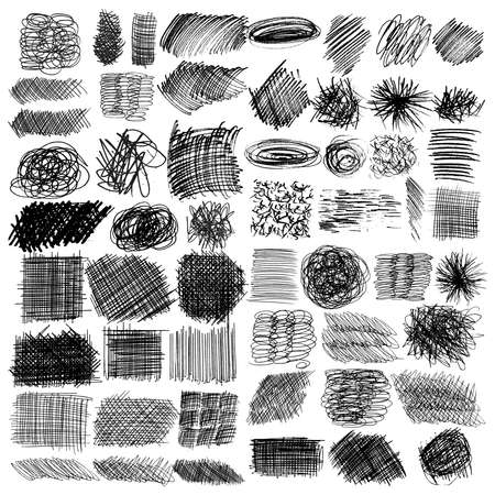ensemble d'images vectorielles de lignes d'encre, ensemble de textures dessinées à la main, gribouillis de stylo, hachures, rayures
