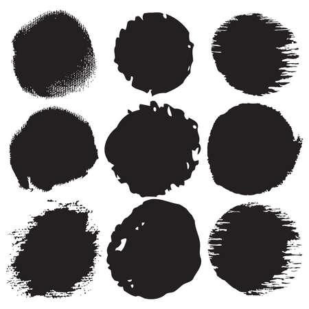 Grunge shapes; circle set Illustration