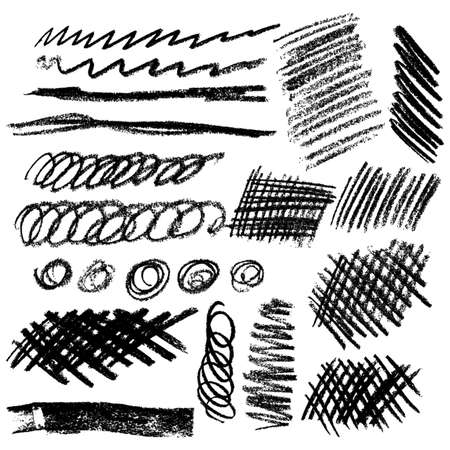 Set of vector chalk and charcoal hatching. Hand-drawn strokes and scribbles. Various shapes on white. Vector illustration. Ilustração