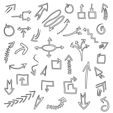 Hand drawn vector arrow outline collection isolated on white