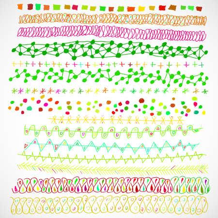 Hand-drawn vector line border set and design element Vektorové ilustrace