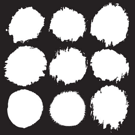 Grunge paint circle vector element set. Brush smear stain texture Reklamní fotografie - 116204419