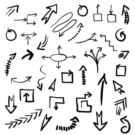 Set of grunge vector hand drawn arrows. Vector EPS10 illustration for your design. Color can be changed by one click Stock Illustratie