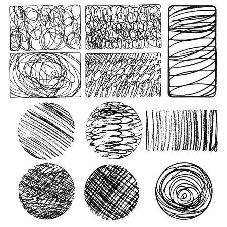 oval, circle and rectangle collection, vector set of ink lines, set of hand drawn textures, scribbles of pen, hatching, scratch