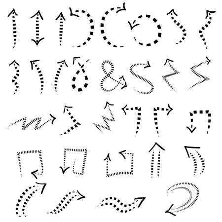 dashed set of arrow icons, doodle