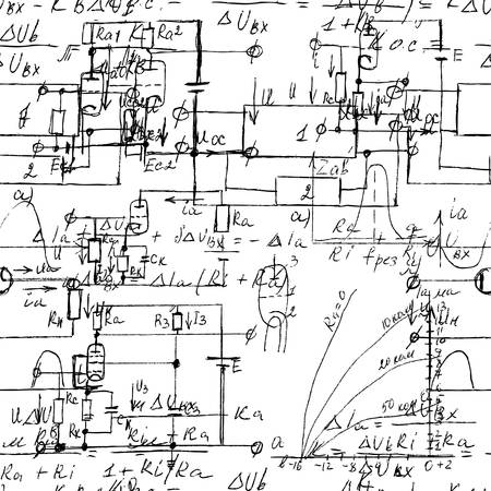Scientific seamless texture with handwritten formulas and electronic components. Physics and schematic diagram and circuit of  the devices. Vector.