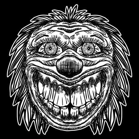 Monstruo malvado payaso aterrador con nariz grande y dientes afilados. Concepto de tatuaje de carne adulta de Blackwork. Ilustración de dibujos animados de terror aislado sobre fondo negro. Riendo cabeza de bromista loco enojado. Vector.