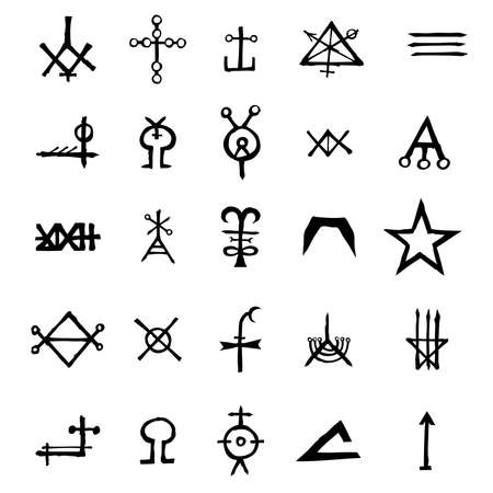Set of alchemical symbols isolated on white background. Hand drawn and written elements for signs design. Inspiration by mystical, esoteric, occult theme. Vector.