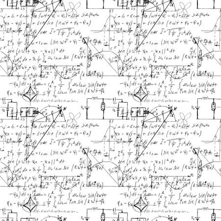 Mathematical seamless texture with handwritten math, algebra and geometry formulas and graphs, functions, calculations and operations. Vector.