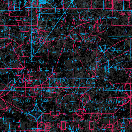 Scientific seamless background with handwritten mathematical and physical formulas, electronic components, schematic diagram and circuit of  the devices. Electrician pattern on chalk boards. Vector.
