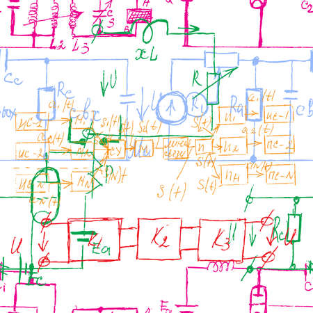 Scientific seamless background with handwritten mathematical and physical formulas, electronic components, schematic diagram and circuit of  the devices. Electrician pattern. Vector. Ilustrace