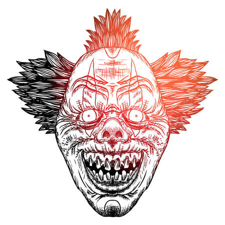 Devil clown head illustration. Nightmare inspired satanic influence clown face with mohawk, dark twist face gesture. Possessed by demon smiling mascot. Blackwork adult flesh tattoo concept. Vector.
