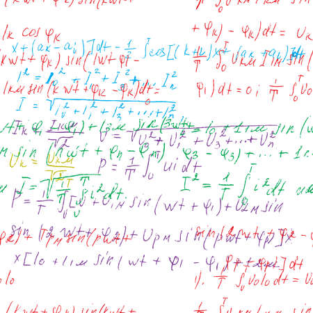 Math seamless board with handwritten mathematical and physics formulas and proves. Vector Ilustração