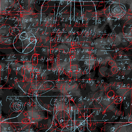 Math seamless pattern endless pattern with handwriting of various operations such as addition, subtraction, multiplication, division an calculations. Geometry, mathematics subjects. College lectures.