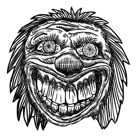 Scary cartoon clown illustration. Blackwork adult flesh tattoo concept. Horror movie zombie clown face character. Vector.