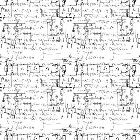 Scientific seamless texture with handwritten formulas and electronic components. Drawing of various graph solutions on white. Physics and schematic diagram and circuit of  the devices. Vector. Illustration