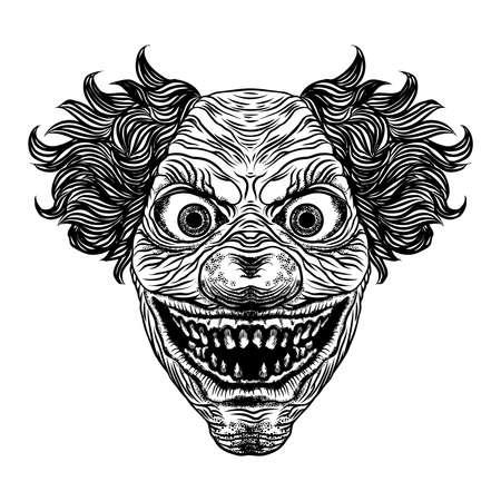 Scary cartoon clown illustration. Blackwork adult flesh tattoo concept. Horror movie zombie clown face character. Vector. Banco de Imagens - 116230856