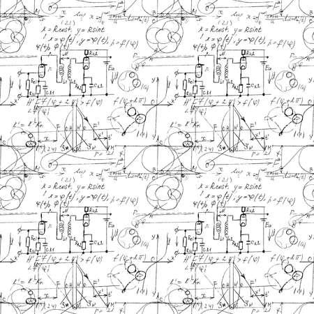 Texture mathématique sans couture avec formules et graphiques manuscrits, fonctions, calculs et opérations de mathématiques, d'algèbre et de géométrie. Vecteur.