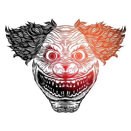 Cabeza delantera del payaso aterrador del diablo de Halloween. Monstruo payaso sonriente con ojos grandes y amplia sonrisa enojada. Estilo de línea de flash de tatuaje para adultos de Blackwork y póster, impresión, diseño de concepto de camiseta. Vector.
