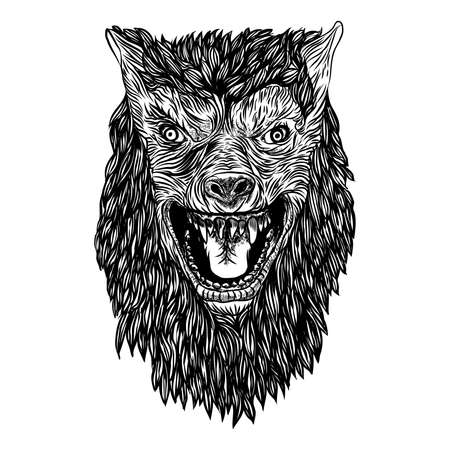 Ferocious wolf head. Angry front face of roaring werewolf. Tattoo flash concept isolated on background. Halloween concept. Vector. Stock Illustratie