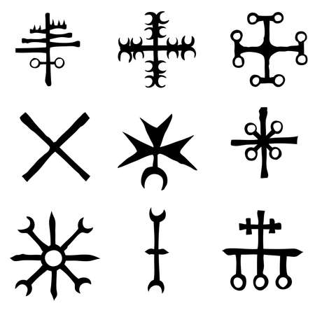 Futhark Norse island and Viking symbol set. Imaginary magic letters in hand drawing and writing symbols. Inspired by ancient Iceland and ethnic Norse Viking. Vector 일러스트