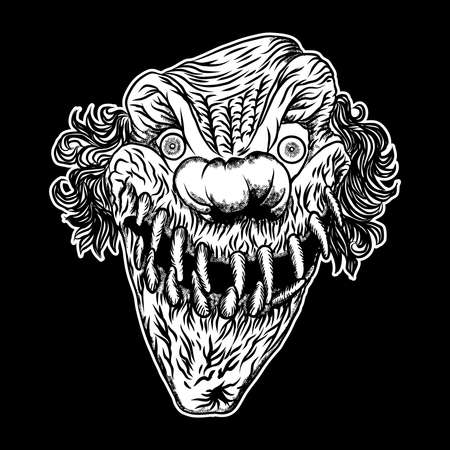 Devil clown head illustration. Nightmare inspired satanic influence clown face with evil smile, dark twisted face gesture. Possessed by demon smiling mascot. Blackwork adult flesh tattoo concept. Banco de Imagens - 120131388