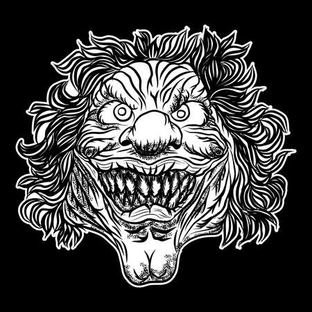 Devil clown head illustration. Nightmare inspired satanic influence clown face with evil smile, dark twisted face gesture. Possessed by demon smiling mascot. Blackwork adult flesh tattoo concept.